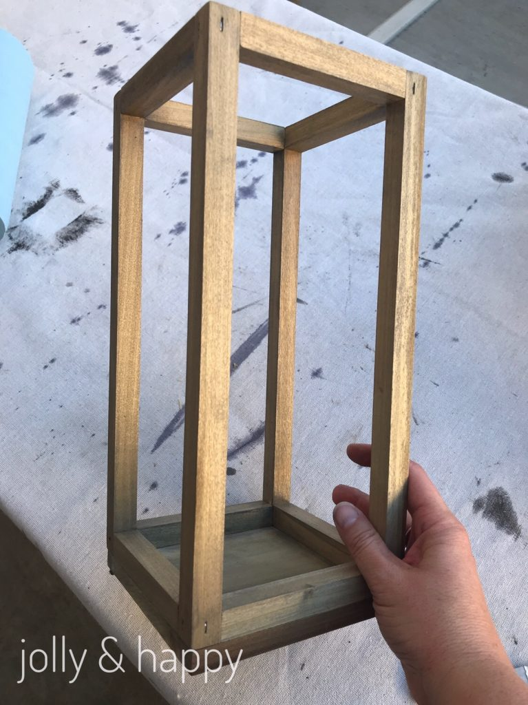 Rustic fixer upper inspired wood lantern